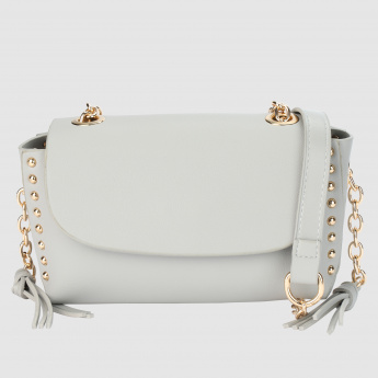 Embellished Crossbody with Flap and Magnetic Snap Closure