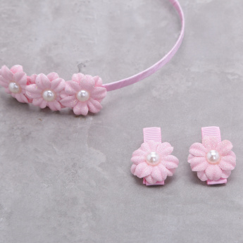 Flower Embellished Hairband and Hair Clip Set