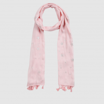Star Print Scarf with Tassels
