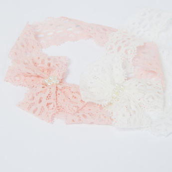 Lace and Bow Detail Headband - Set of 2