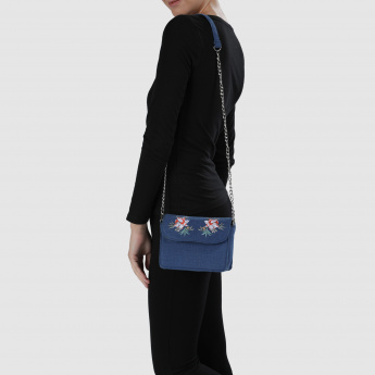 Embroidered Handbag with Flap and Magnetic Snap Closure