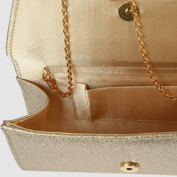 Textured Clutch with Metallic Detail
