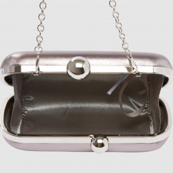 Clutch with Kiss Lock Closure and Metallic Strap Detail