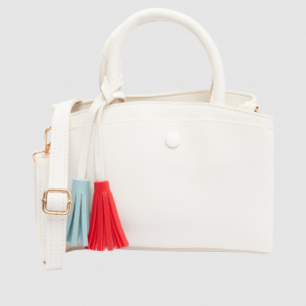 Handbag with Tassel and Shoulder Strap Detail