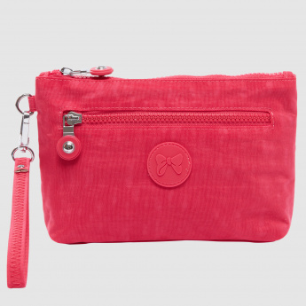 Pouch with Zip Closure and Applique Detail