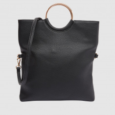 Handbag with Zip Closure and Ring Handle