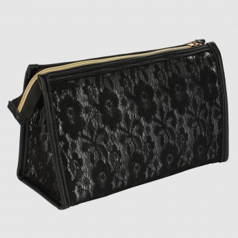 Lace Detail Pouch with Zip Closure