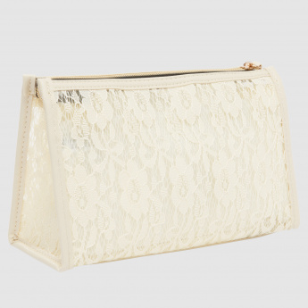 Lace Detail Pouch with Zip Closure and Bow Applique