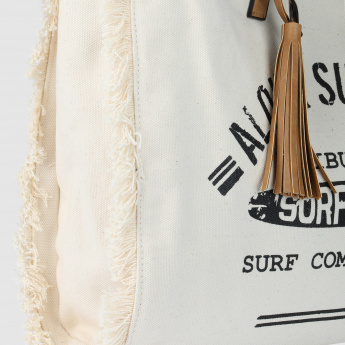 Printed Tote Bag with Tassels