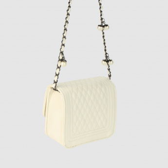 Textured Crossbody Bag with Flap