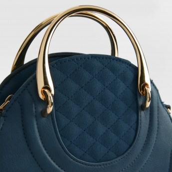 Quilted Hand Bag with Metallic Handles