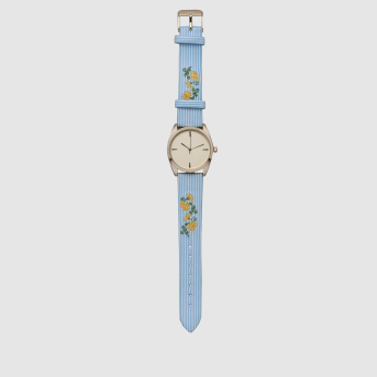 Embroidered Round Wrist Watch with Pin Buckle