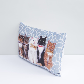 Cat Printed Filled Cushion