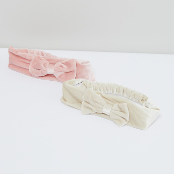 Bow Detail Headband with Elasticised Back - Set of 2