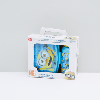 Despicable Me Printed Sandwich Box and Sipper Water Bottle Set