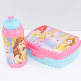Princess Printed Sandwich Box and Sipper Water Bottle Set