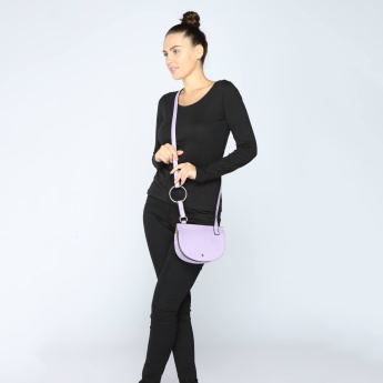 Ring Detail Crossbody Bag with Magnetic Snap Closure