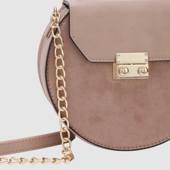Crossbody Bag with Flap and Chain Strap