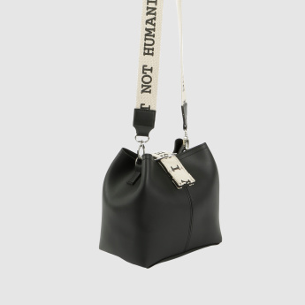 Crossbody Bag with Magnetic Snap Closure and Printed Strap