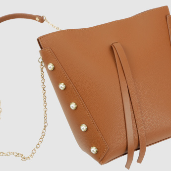 Pearl Detail Crossbody Bag with Magnetic Snap Closure