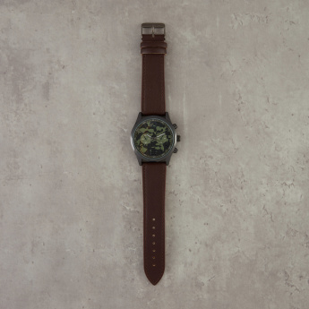 Printed Round Dial Wrist Watch with Pin Buckle
