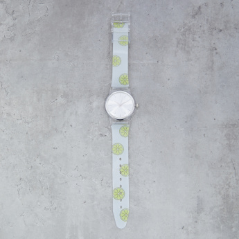 Printed Round Wrist Watch with Pin Buckle