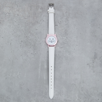 Embellished Wrist Watch with Cat Face Dial