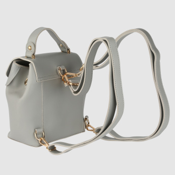 Metallic Accent Backpack with Adjustable Shoulder Straps