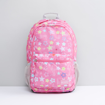 Printed Backpack with Zip Closure and Adjustable Shoulder Straps