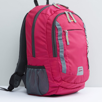 Multi-Compartment Backpack with Cushioned Straps and Zip Closure