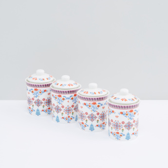 Printed Canisters with Lid - Set of 4