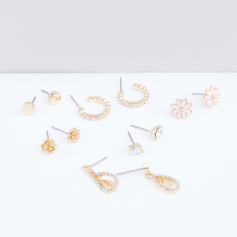 Assorted Metallic Earrings with Push Back Closure - Set of 6