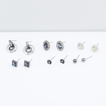 Studded and Metallic Earrings - Set of 6