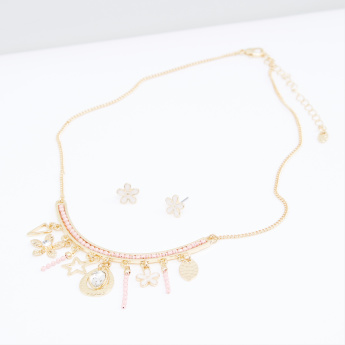 Embellished Necklace and Earrings Set