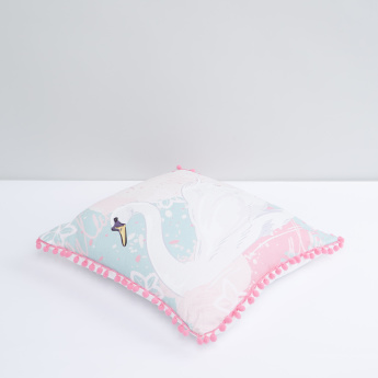 Printed Cushion with Pom-Pom Detail and Zip Closure