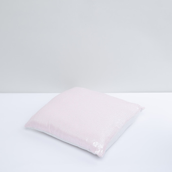 Filled Cushion with Sequin Detail and Zip Closure