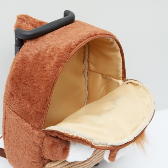 Plush Detail Trolley Backpack with Zip Closure