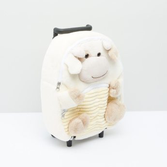 Plush Detail Trolley Backpack with Zip Closure and Adjustable Straps