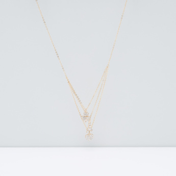 Studded Pendant Multi-Layer Necklace with Lobster Clasp