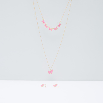 Metallic Butterfly Detail Layered Necklace and Earrings Set