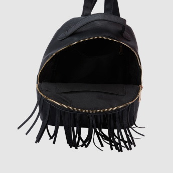 Embroidered Backpack with Zip Closure with Fringes
