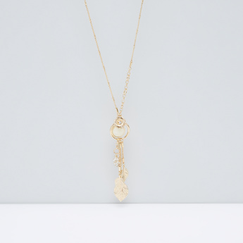Studded and Metallic Dangling Pendant Necklace with Lobster Clasp