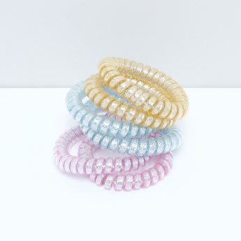 Glitter Elasticised Spiral Hair Tie - Set of 6