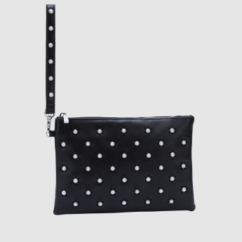 Pearl Detail Pouch with Zip Closure and Wrist Strap