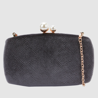 Textured Clutch with Metallic Chain Strap