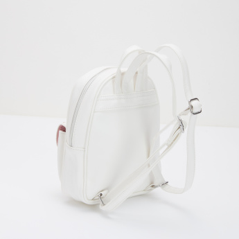 Embroidered Backpack with Zip Closure and Adjustable Shoulder Straps