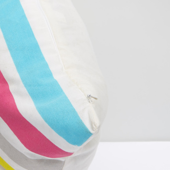 Striped Filled Cushion with Zip Closure