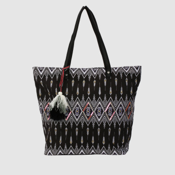 Printed Tote Bag with Zip Closure and Tassels