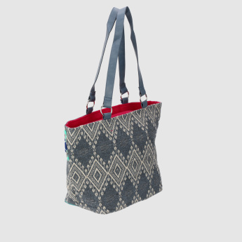 Embroidered Tote Bag with Tassels and Zip Closure