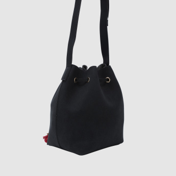 Tassel Detail Bucket Bag with Long Strap